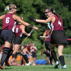 MCI celebrates a goal during the first half of its game against Winslow on Saturday.