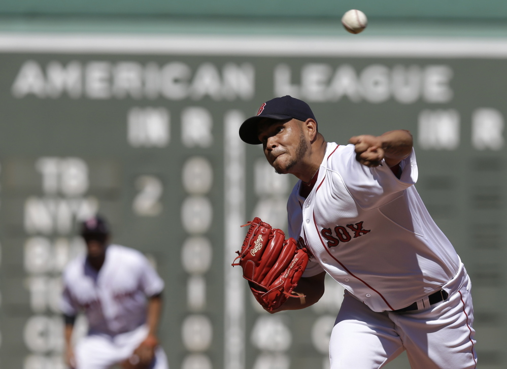 Boston Red Sox starter Eduardo Rodriguez delivers a pitch against the Philadelphia Phillies in the first inning Sunday at Fenway Park in Boston. Rodriguez allowed eight hits while striking out seven.