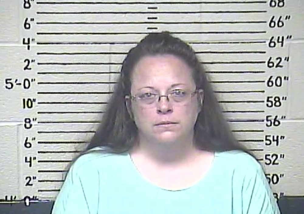 This Thursday, Aug. 3, 2015 photo made available by the Carter County Detention Center shows Kim Davis.