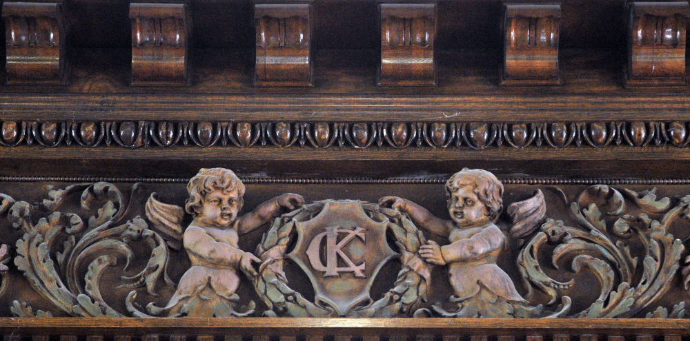 "A crest bearing the letters ""KC,"" for ""Kennebec County,"" is part of the recently renovated old courtroom in the Kennebec County Courthouse in Augusta."