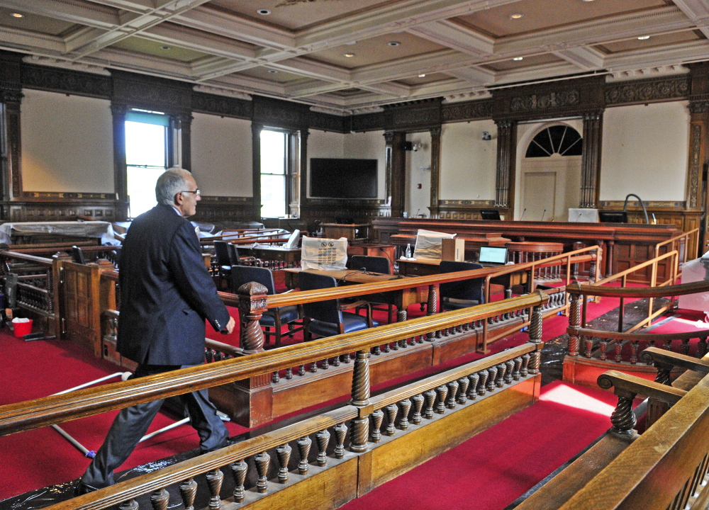 Supreme Court Justice Joseph Jabar leads a tour Thursday of the recently renovated old courtroom in the Kennebec County Courthouse in Augusta.