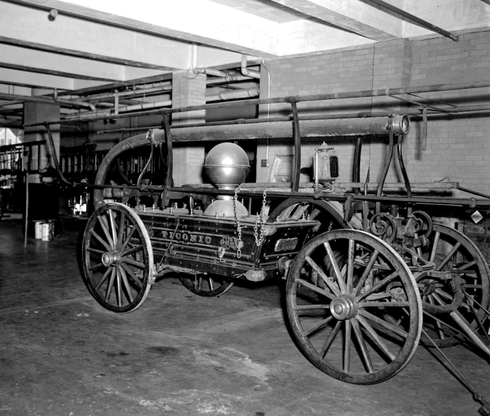 This 1864 hand tub was owned by the Waterville Fire Department and named Ticonic by firefighters, then sold to the Ellsworth Fire Department in 1888. It will be on display Sept. 20 outside Central Fire Station in Waterville.