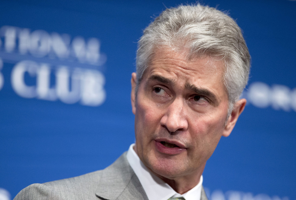 In this May 15, 2015, file photo, United Airlines Chairman, President and Chief Executive Officer Jeff Smisek, speaks during a panel discussion on unfair international competition at the National Press Club in Washington.