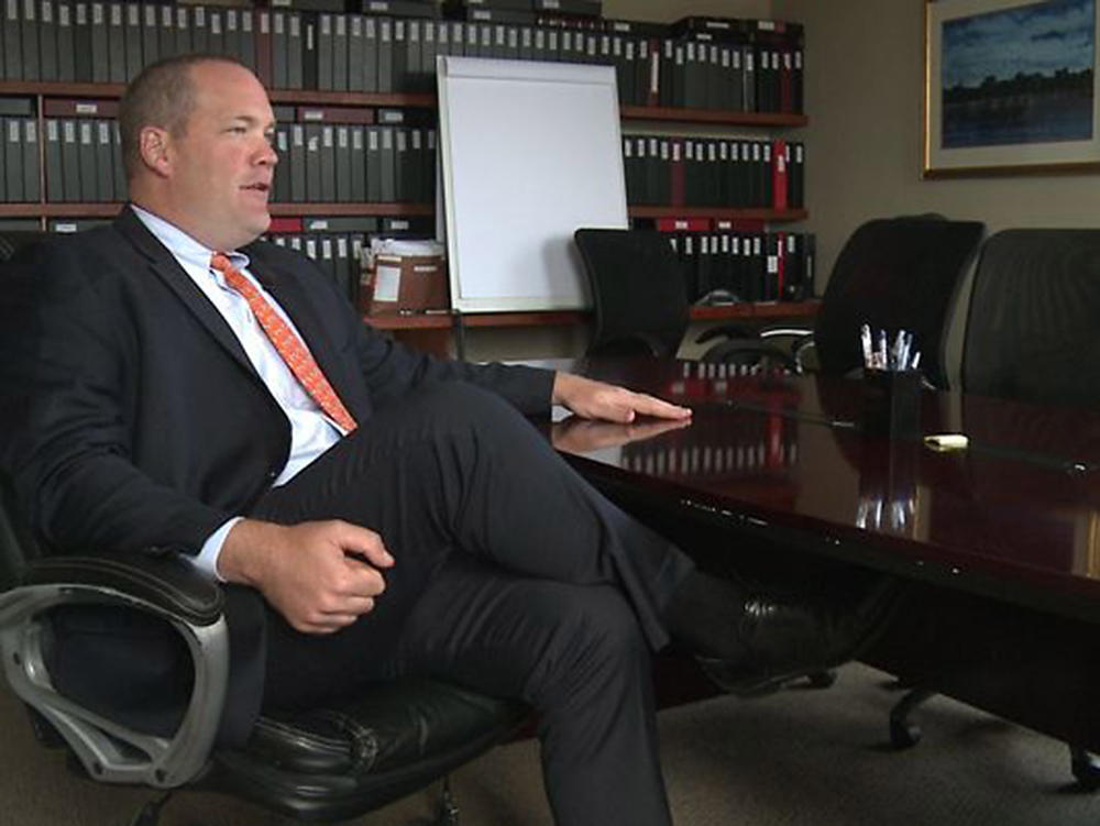 Lawyer Gregg Frame speaks to WCSH TV Tuesday about the allegations against his client, Waterville High School Principal Don Reiter. Reiter was put on paid administrative leave Sept. 1.