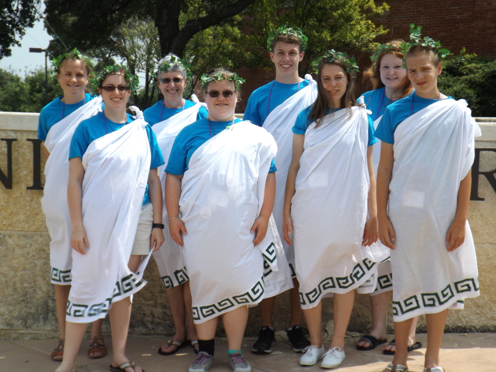 """The Day in Old Rome, Tiber Riverwalk"" day: In front, from left, are Sarah Moore, Teresa Easterbrooks, Natalie Hodgman and Evan Gaudette. In back, from left, are Siana Emery, Meg Cook, Connor Kreider and Sarah Truman."