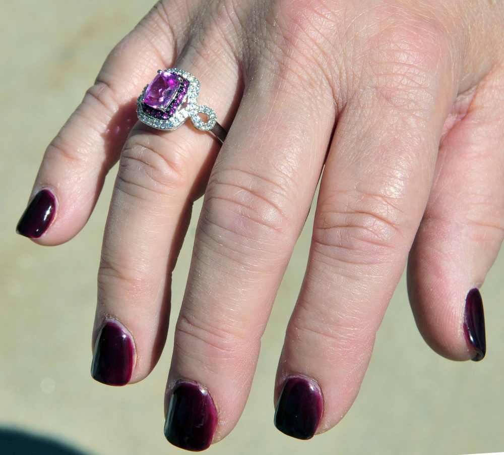 Jean Davenport is wearing a new ring commemorating her fifth anniversary of being free of cancer during the Cancer Surviviors Day celebration on Saturday at the Harold Alfond Center for Cancer Care.
