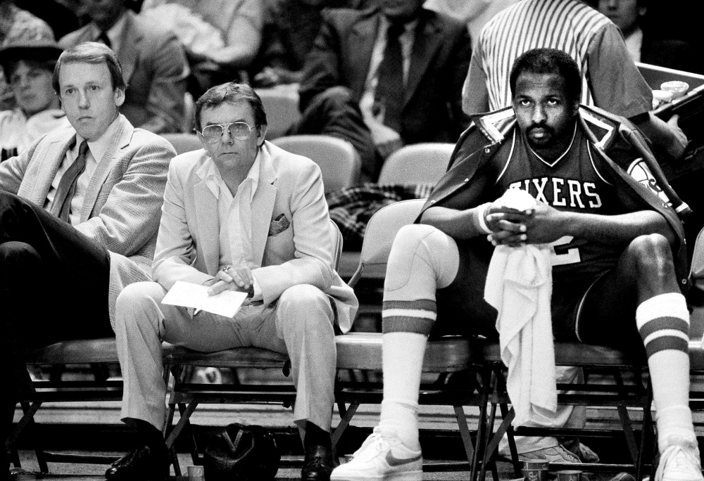 Moses Malone, shown in this 1984 photo, died Sunday at age 60, the Philadelphia 76ers said.