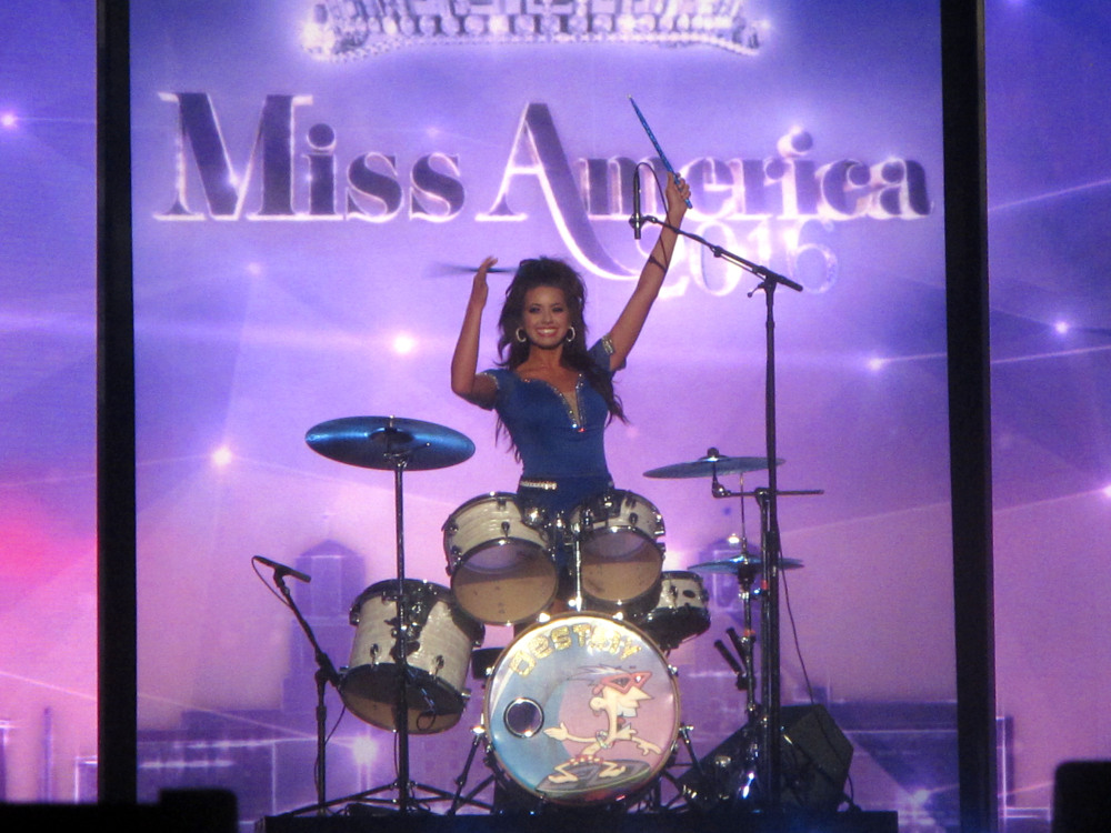 Miss Puerto Rico Destiny Noelle Velez plays the drums during the third night of preliminary competition in the 2016 Miss America pageant in Atlantic City, N.J. on Thursday.