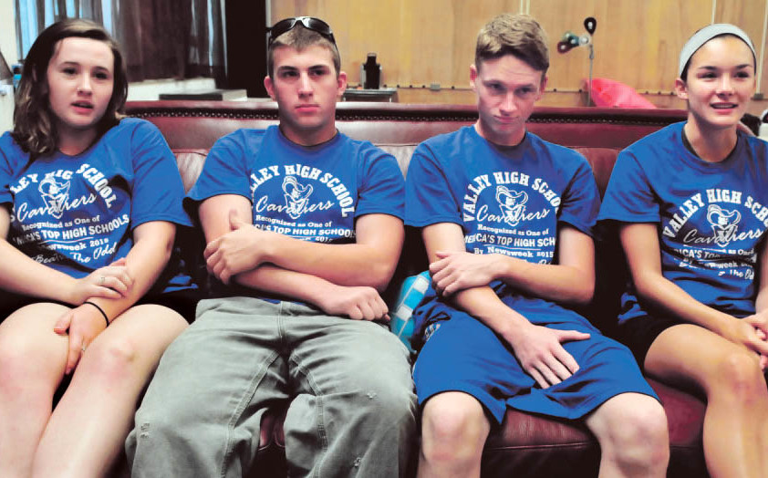 Upper Kennebec Valley Memorial High School seniors speak about the school's recent recognition by Newsweek as one of four Maine schools that earned Beating the Odds status for how they prepare low-income students for college. From left are Jordan Belanger, Jeffrey McKenzie, Luke Malloy and Charlie Savoy.