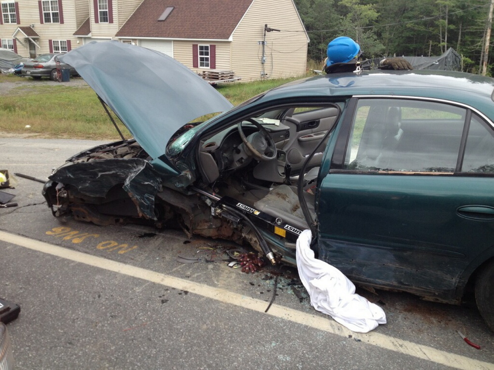 A head-on collision on Waterville Road in Norridgewock sent the occupants of both cars, including this Buick sedan, to hospitals for treatment of non life-threatening injuries.