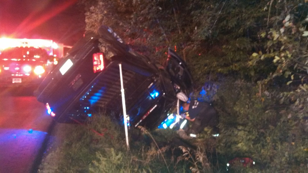 The Penobscot Nation Warden Service truck driven by Troy Francis rolled over when it struck a ditch alongside U.S. Route 2.