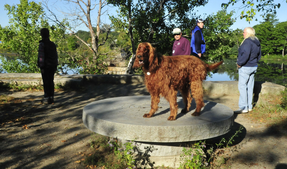 A group of hikers stop along the Rotary Centennial trail beside the Kennebec River in Benton on Monday. Irish setter Keeli stands on the Waterville Rotary Club stone marker.