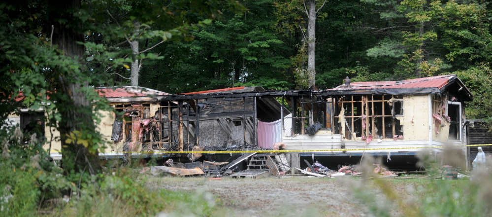 A mobile home at 289 Brown's Corner Roadd in Canaan was destroyed in fire on Monday. This photo shows the charred remains on Tuesday. It is the third fire in that town in three weeks.