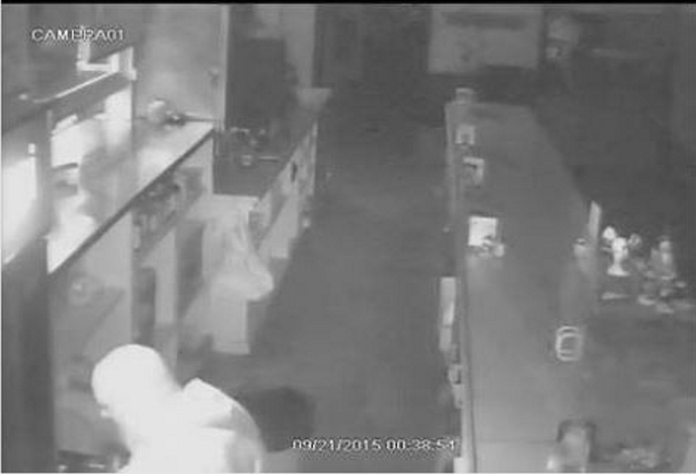A still from a surveillance video at Holly and Dough's Country Diner in Norridgewock shows a burglar who took $600 early Monday morning.