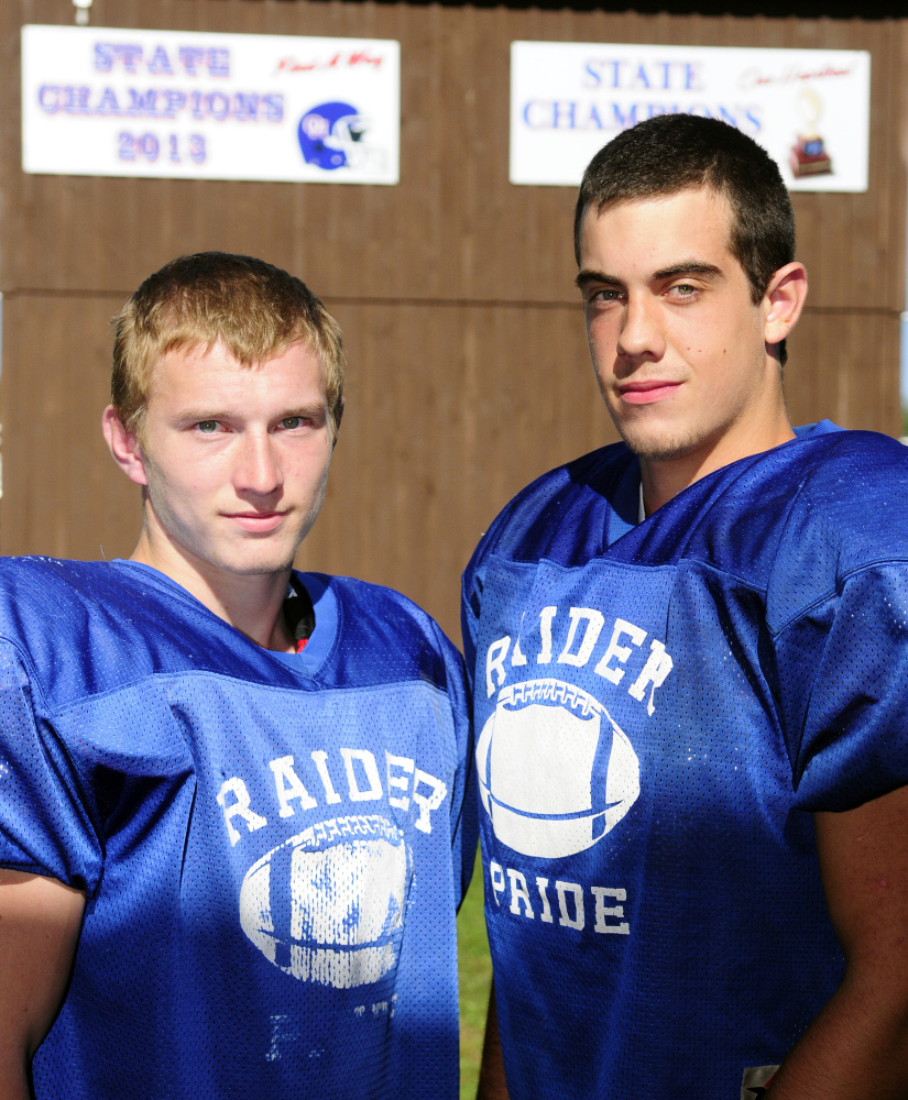 Oak Hill football players Brendan Tervo, left, and Austin Gaucher on Wednesday in Wales.