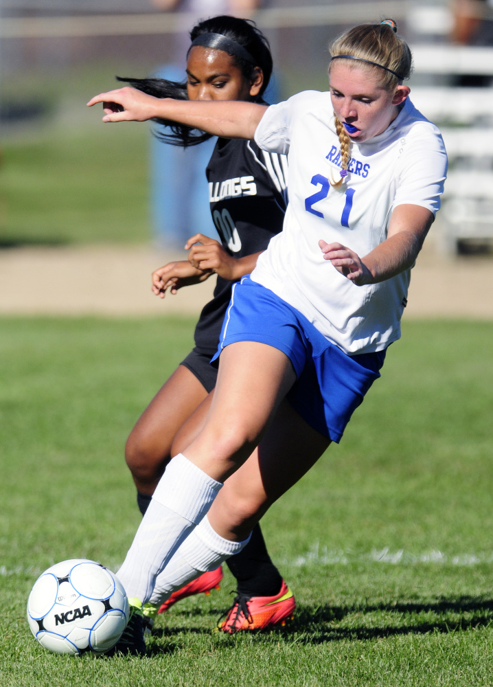 Oak Hill's Brittany Marquis during a game against Hall-Dale on Wednesday in Wales. Oak Hill won 2-1.