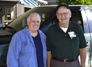 Two current FMH volunteers, from left, are Pam Yenco, of Farmington, manager of the gift shop, and Lewis Holbrook, of New Vineyard, who helps patients needing parking assistance.