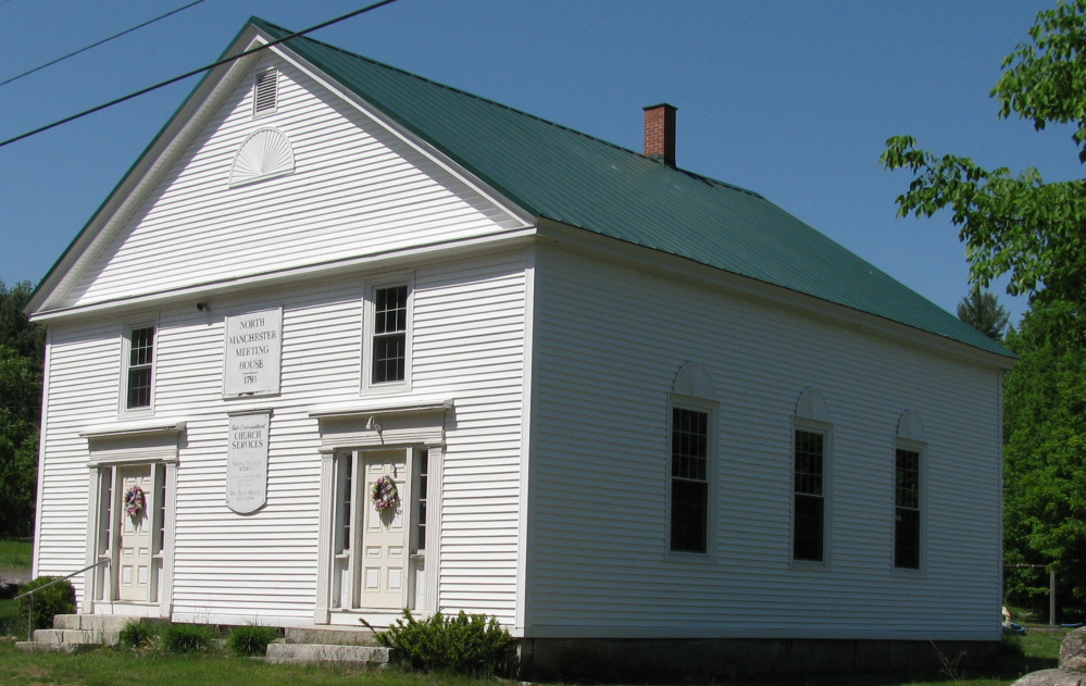 The North Manchester Meeting House on Scribner Hill Road was built in 1793 by Elder Isaac Case and moved from East Readfield to its present site in 1839. It was originally located where Case Cemetery now sits on Route 17.