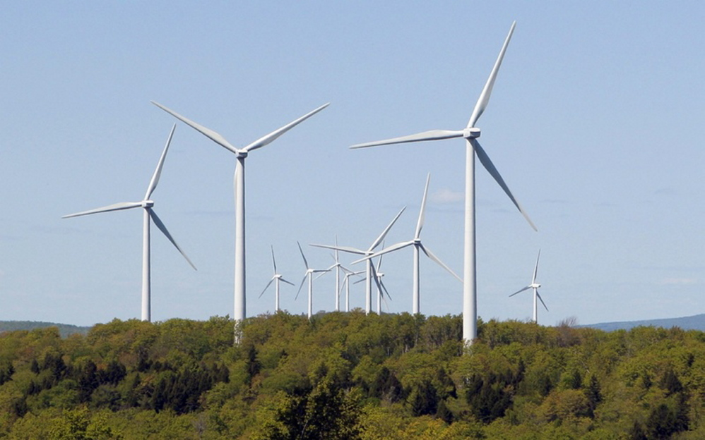 Wind turbines at SunEdison's Stetson wind farm in Washington County near Danforth. The company has reached agreement on a $2.5 million conservation program, forged after anti-wind group Friends of Maine Mountains earlier this year dropped opposition to a 56-turbine wind farm in Bingham.