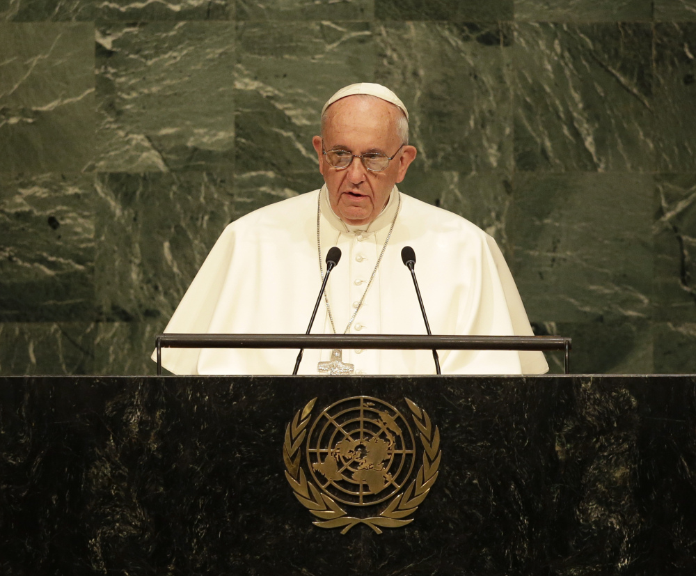 Pope Francis addresses the 70th session of the United Nations General Assembly Friday at United Nations headquarters.