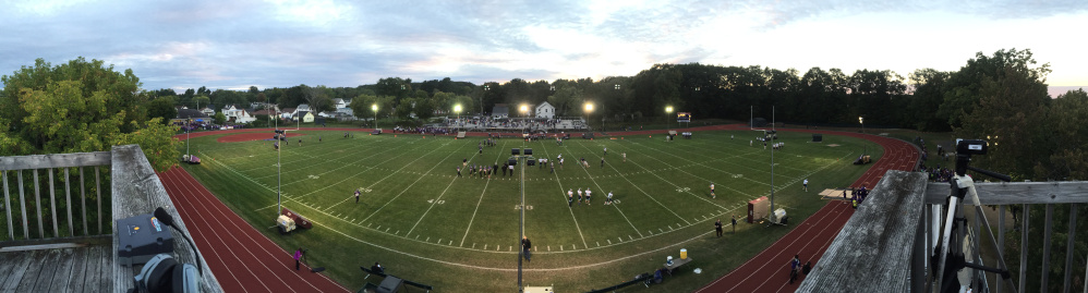 A panoramic view of Drummond Field in Waterville shows some of the 12 light poles that were brought in for a Northern C football game between Waterville and Oceanside. It was the first night game played at Drummond Field.