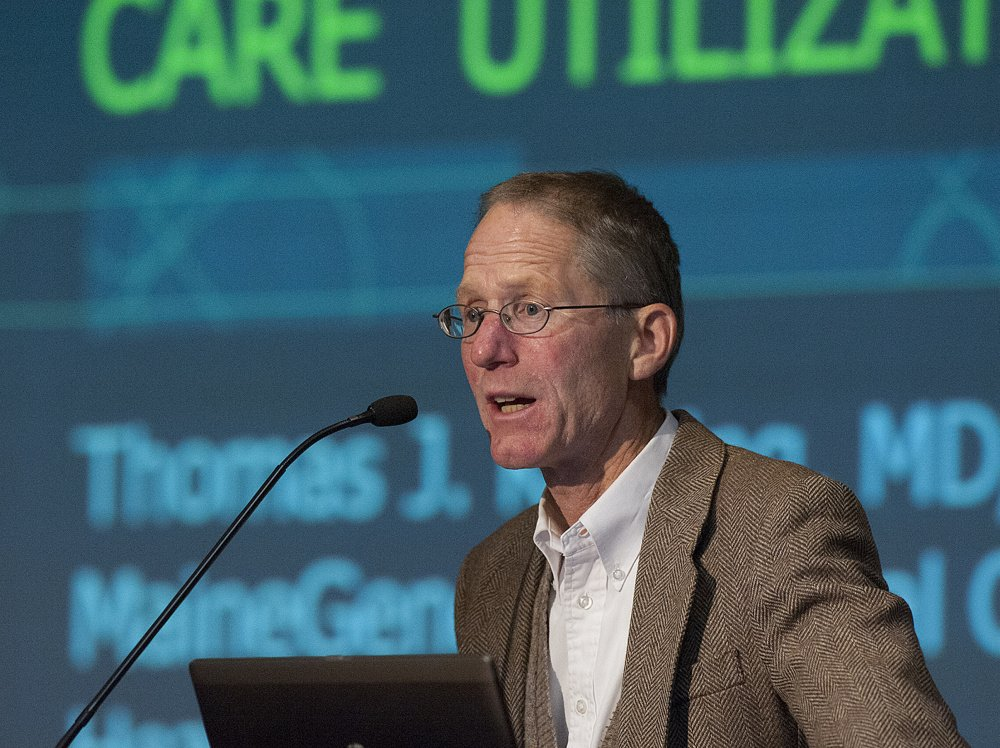 Dr. Thomas Keating, of Brunswick, speaks to a group of people about end-of-life care during a public forum at Jewett Auditorium at the University of Maine in Augusta on Sunday.