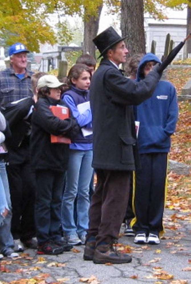 Hallowell City Historian Sam Webber will lead a walking tour of the Hallowell Cemetery at 1pm on Saturday, Oct. 17.
