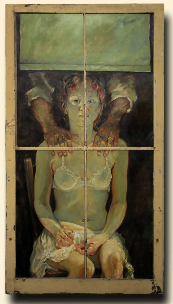 """""""No I'm Fine"""" by Chris Cart of Hallowell, oil on canvas with window"""