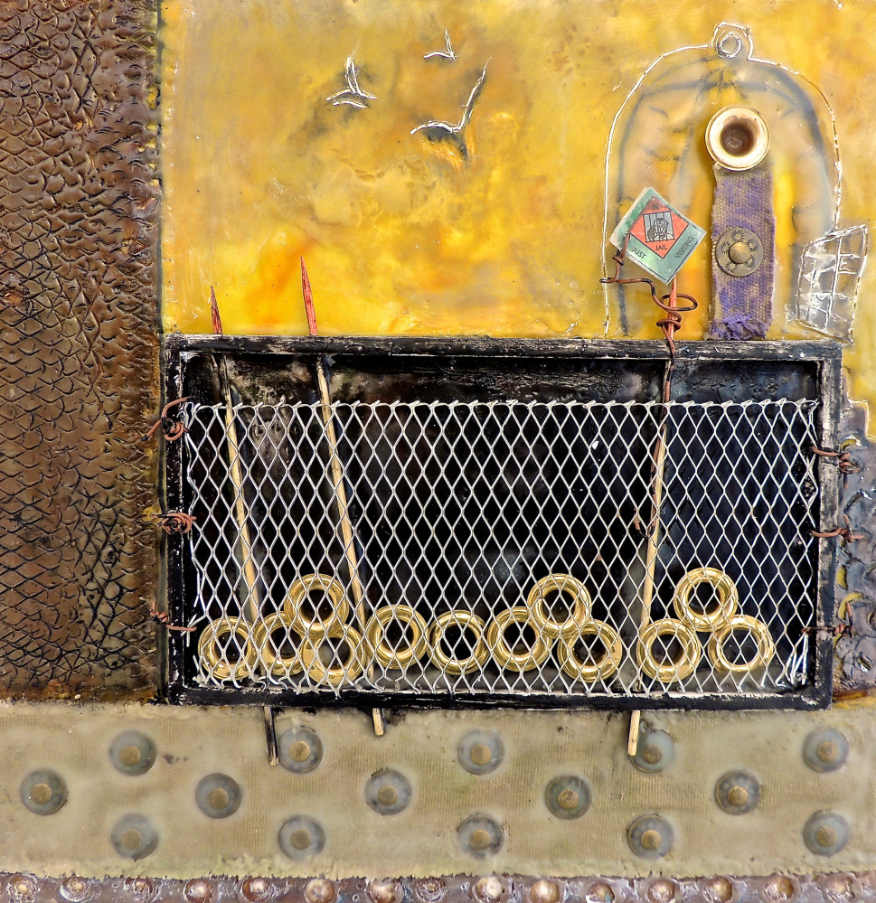 """""""Ready to Fly the Coop"""" by Anne Strout of Falmouth, encaustic and mixed media on board"""