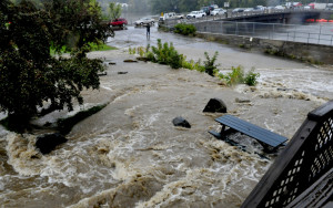 Water from Wednesday rain flooded the parking lot and forced evacuations of businesses at Skowhegan Plaza in Skowhegan.