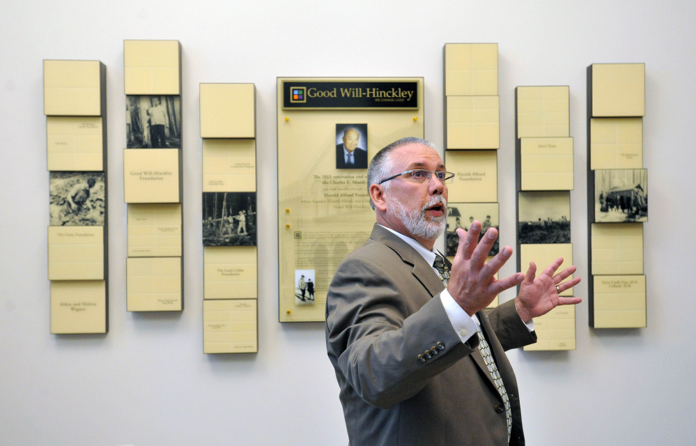 Rob Moody, interim president of Good Will-Hinckley, speaks from the new lobby of the $7 million worth of renovations on the former Moody School at the Good Will-Hinckley campus on Wednesday.