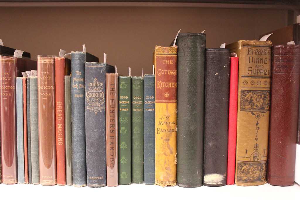 Books from the Esta Kramer Collection of American Cookery. Kramer, a former magazine editor in New York who now lives in Damariscotta, donated money to the college for the purchase of the collection. Courtesy Bowdoin College