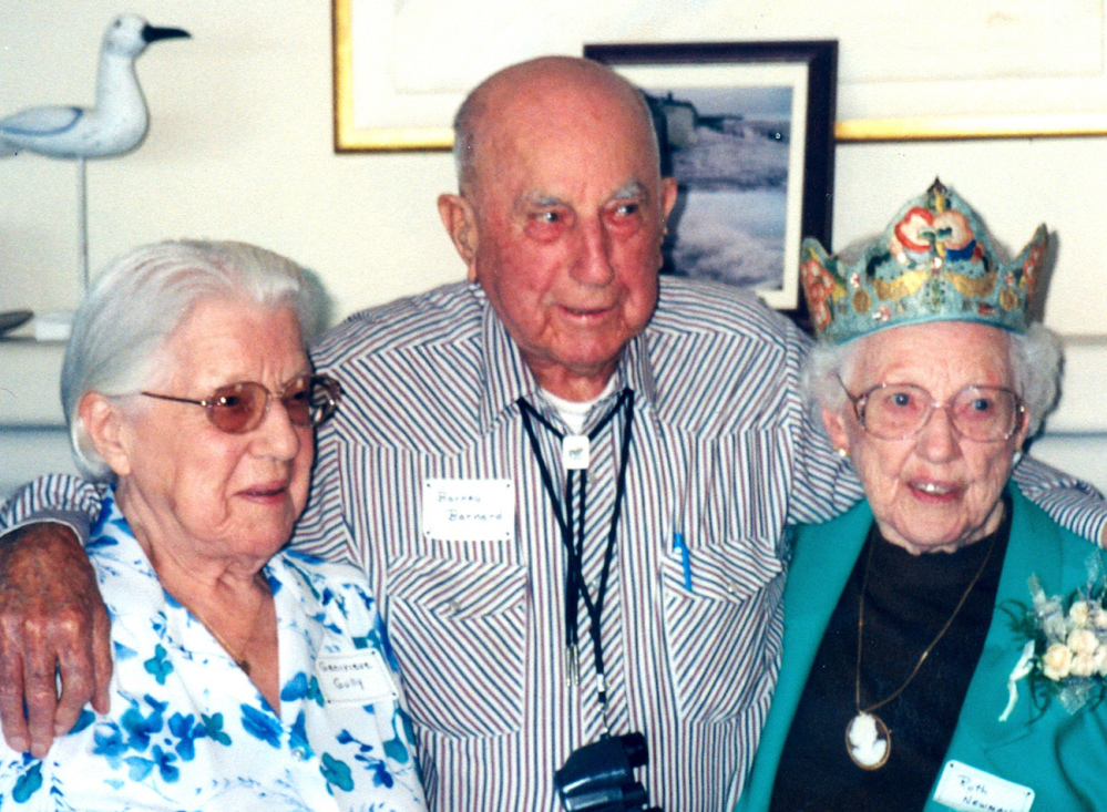 Ruth Newman, right, celebrates her 100th birthday Sept. 23, 2001, with her older brother Barney Barnard and younger sister Genevieve Gully in Pebble Beach, Calif. She recalled how containers of cream and milk were thrown to the floor of the ranch where she lived during the San Francisco quake.