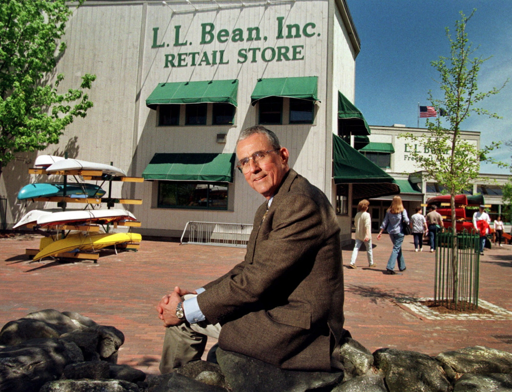 Leon A. Gorman, who is stepping down as president and chief executive officer of L.L. Bean, sits outside one of the company's stores in Freeport, Maine, in May 1999. Gorman, 66, is the grandson of the company's founder, Leon Leonwood Bean. He will be succeeded by Chris McCormick, the chief operating officer. (AP Photo/Robert F. Bukaty)