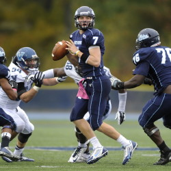 Maine quarterback Dan Collins steps up in the pocket to throw late in the fourth quarter of a 41-20 loss to Villanova at Alfond Stadium in Orono, Saturday, October 4, 2014.