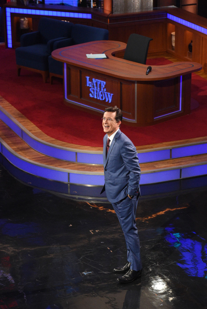 "Stephen Colbert appears for his first ""Late Show"" on Tuesday in the renovated Ed Sullivan Theater in New York."