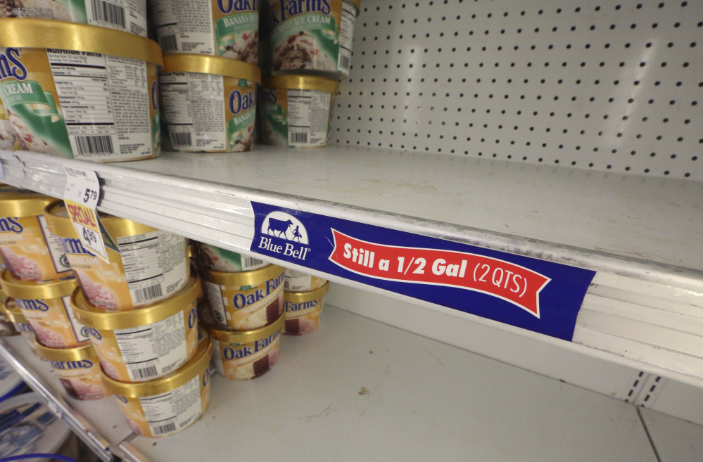 Shelves sit empty at a grocery store in Dallas in April following a voluntary recall issued by Texas-based Blue Bell Creameries for all of its products after two samples of chocolate chip cookie dough ice cream tested positive for Listeriosis.