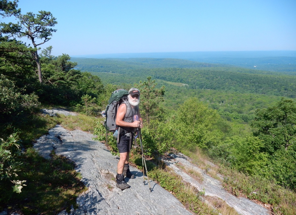 Carey Kish, in his hiking shorts and not his underwear, takes a break while enjoying the panoramic view from Kittatinny Mountain, a New Jersey portion of the Appalachian Trail.