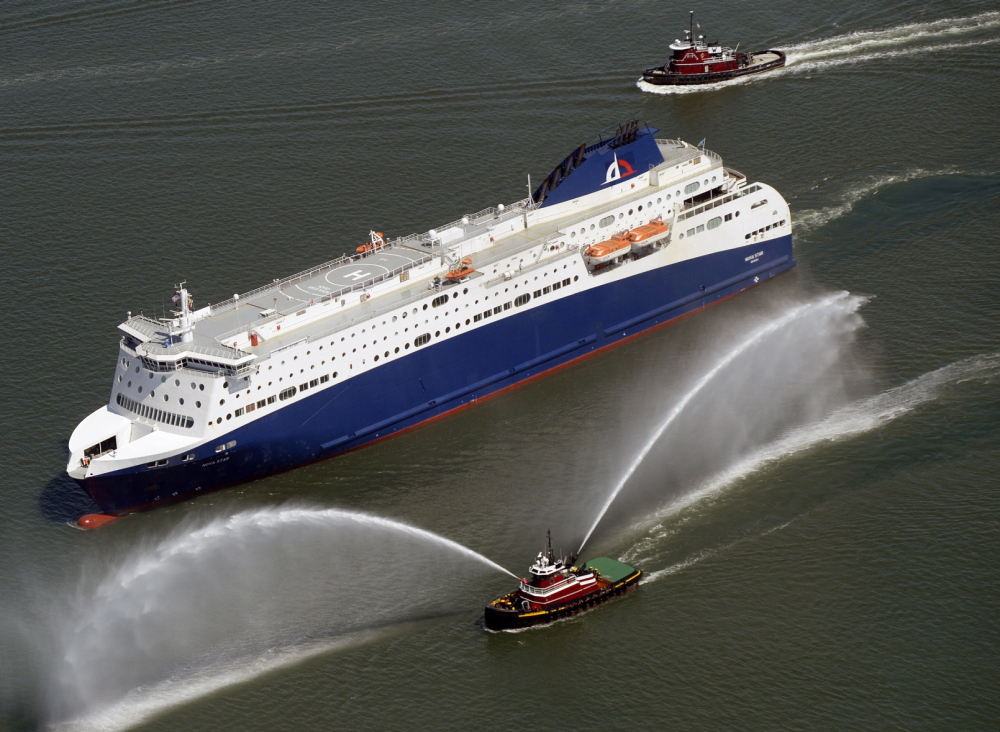 The Nova Star cruises into Portland Harbor in the spring of 2014. The service has been hurt by a number of factors, including the rise of the cruise ship industry and discount airlines.