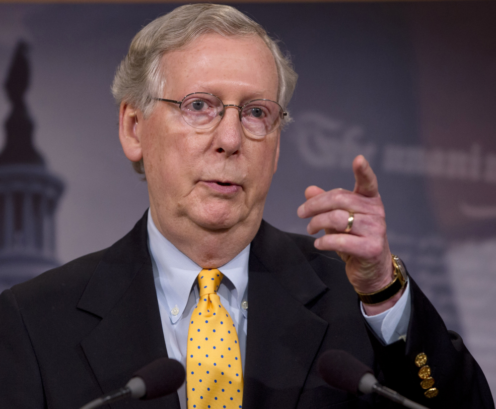 Senate Majority Leader Mitch McConnell of Kentucky  accused Democratic senators on Tuesday of refusing to let the Senate vote on the Iran deal. (AP Photo/Jacquelyn Martin)