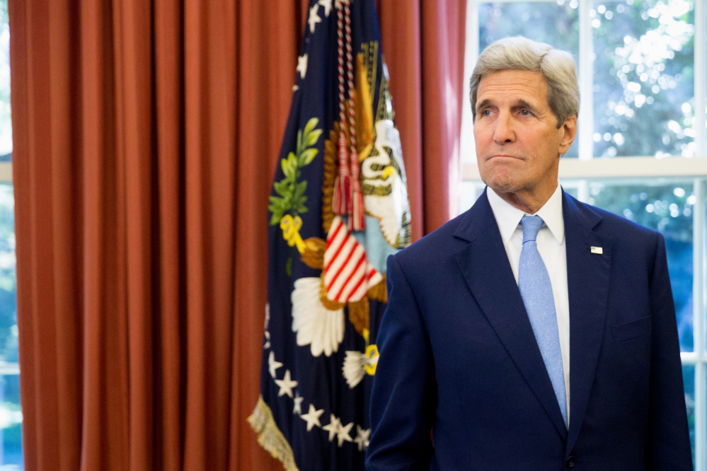 Secretary of State John Kerry in the Oval Office of the White House in Washington on Tuesday. The Associated Press