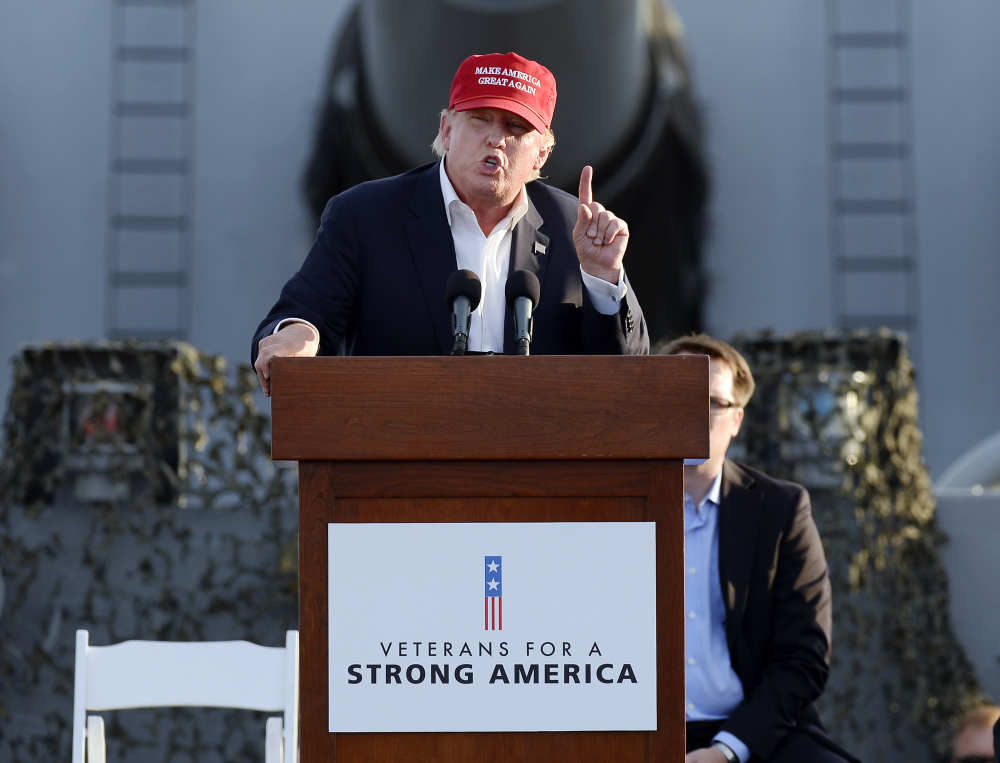 Republican presidential candidate Donald Trump speaks during a campaign event aboard the retired ship USS Iowa in Los Angeles on Tuesday.