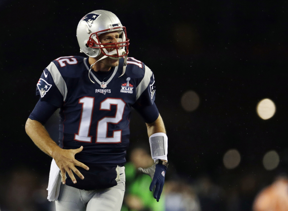 New England Patriots quarterback Tom Brady takes the field for warms up before an NFL football game against the Pittsburgh Steelers on Thursday.