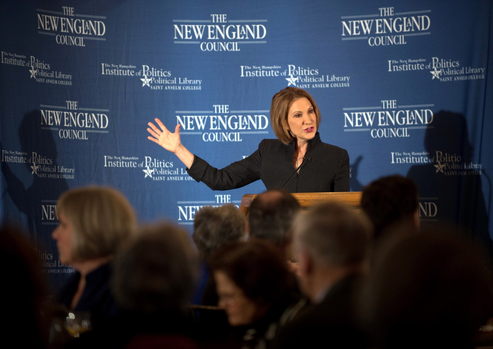 "Former Hewlett-Packard Chief Executive Carly Fiorina speaks at the New England Council's ""Politics and Eggs"" breakfast in Bedford, New Hampshire February 10, 2015."