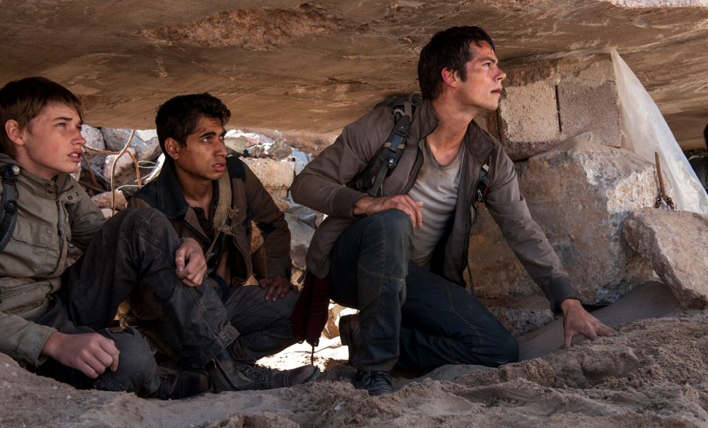 "Jacob Lofland, left, Alex Flores, center, and Dylan O'Brien appear in ""Maze Runner: The Scorch Trials."" A diverse cast is seen to draw a diverse audience for the movie."