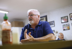 LEWISTON, ME - SEPTEMBER 25: Lewiston Mayor Robert Macdonald is calling for the state to publicize its list for welfare recipients. Jeff Burrill, who works for the city of Lewiston, talks about the Mayor's plan. (Photo by Derek Davis/Staff Photographer)