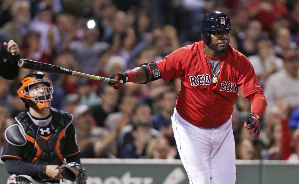 David Ortiz watches his two-run double in the sixth inning. Ortiz had three doubles in the game.