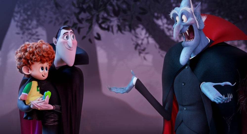 """Dennis, left, voiced by Asher Blinkoff, Dracula, voiced by Adam Sandler, and Vlad, voiced by Mel Brooks, appear in """"Hotel Transylvania 2,"""" which made $47.5 million over the weekend."""
