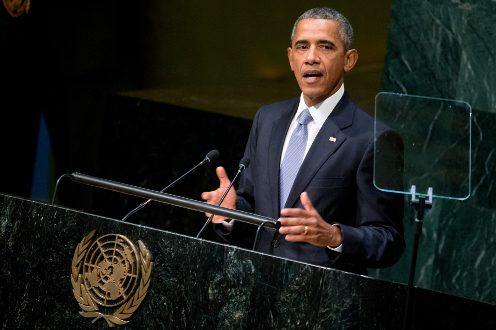 President Obama speaks before the 70th session of the United Nations General Assembly on Monday at the U.N. headquarters.