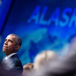 President Barack Obama speaks at the Global Leadership in the Arctic: Cooperation, Innovation, Engagement and Resilience Conference at Dena'ina Civic and Convention Center in Anchorage, Alaska, Monday. The Associated Press